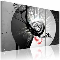 Schilderij - Metalen cirkel en rode veer , zwart wit , 3 luik