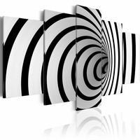 Schilderij - Zwart-wit gat , spiraal , 5 luik