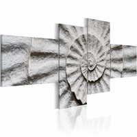 Schilderij - Stenen schelp , grijs zwart , 4 luik