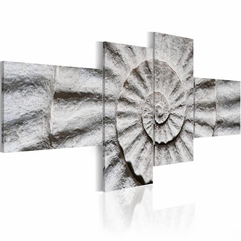 Schilderij - Stenen schelp , 4 luik