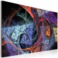 Schilderij - Abstractie met geheimzinnige kleuren , multi kleur , 3 luik