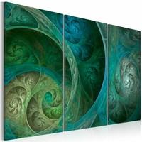 Schilderij - Turquoise inspiratie , blauw groen , 3 luik , 2 maten
