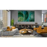 Schilderij - Turquoise inspiratie , 3 luik