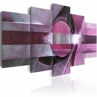 Canvas Schilderij - Paarse abstractie , 5 luik , 2 maten