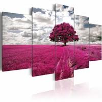 Schilderij - Boom van de hoop - 5 luik , wit roze , 5 luik , 2 maten