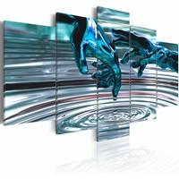 Schilderij - Water cirkels , hand , blauw grijs , 5 luik