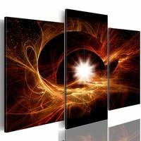 Schilderij - Het centrum van het Universum , bruin wit , 3 luik