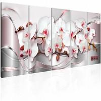 Schilderij - Geweldige Orchideeën  , roze zilver look , 5 luik