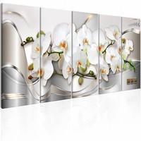 Canvas Schilderij - Orchideeën in Bloem , wit zilver look , 5 luik , 2 maten