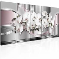 Schilderij - Orchideeën weg , roze zilver look , 5 luik