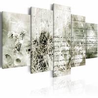 Schilderij - Liefdesbrief  - 5 luik , grijs wit , 2 maten , paardenbloem