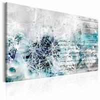 Schilderij - Paardenbloem in de winter , blauw wit , 1 luik