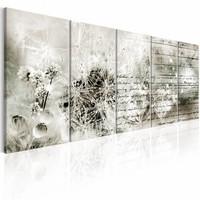Schilderij - Vol geheimen , grijs wit , 5 luik