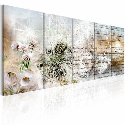 Schilderij - Abstracte Paardenbloem , wit bruin , 5 luik