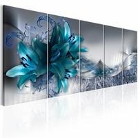 Canvas Schilderij - Noordelijke Lelies , blauw grijs , 5 luik , 2 maten