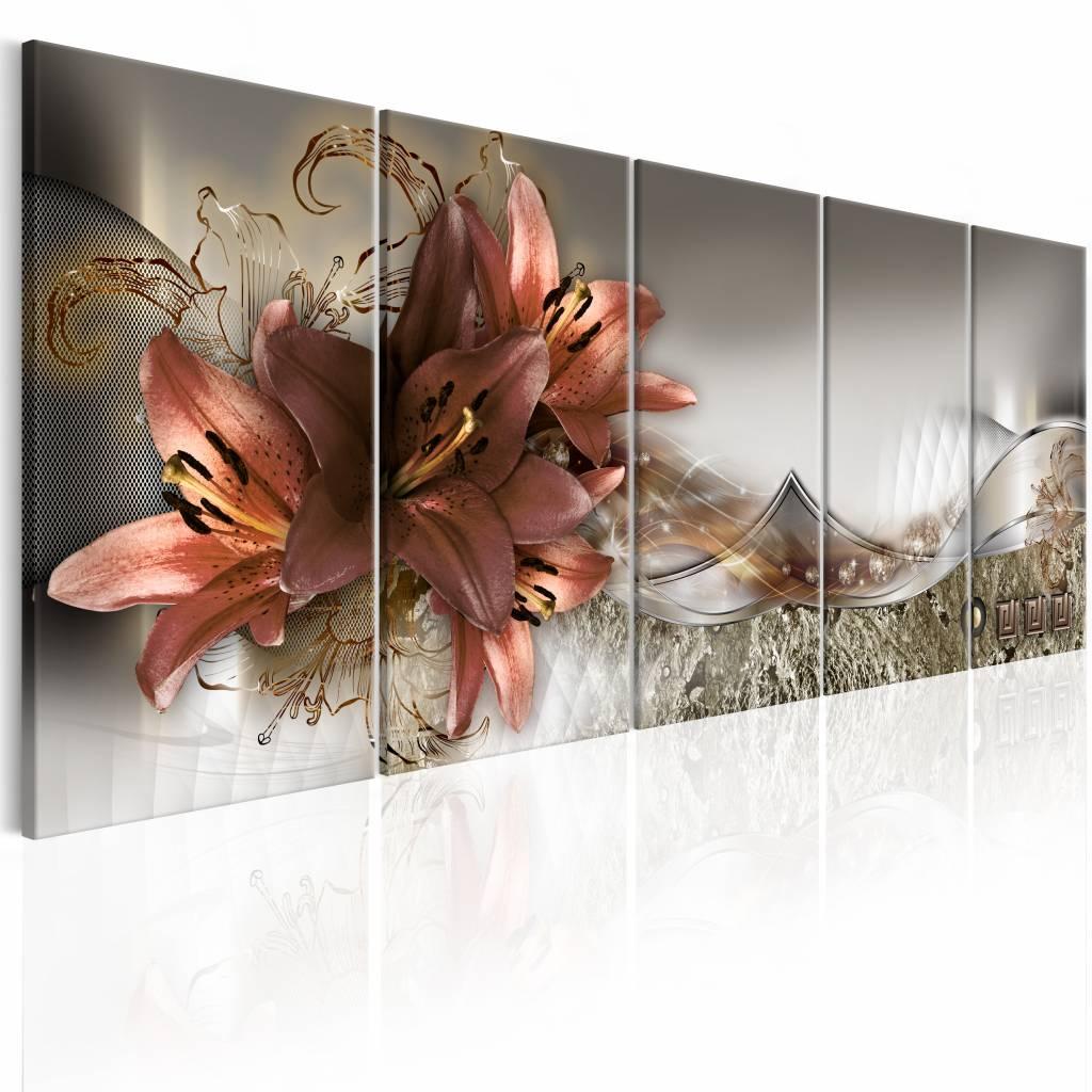 Schilderij - Lelies en Abstractie , 5 luik