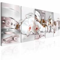 Schilderij - Orchidee en driehoeken , roze wit , 5 luik