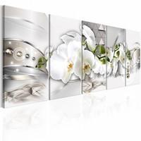 Schilderij - Prachtige Orchidee , wit zilver look , 5 luik