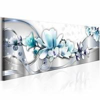 Schilderij - Winter Orchidee 150X50m , blauw wit , 1 luik