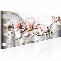 Canvas Schilderij - Zomer Orchidee 150X50 , roze wit , 1 luik