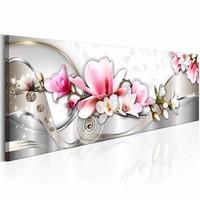 Schilderij - Lente Orchidee 150X50cm , roze wit , 1 luik