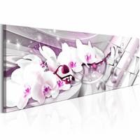Schilderij - Zoete Orchidee 150X50cm , wit paars , 1 luik