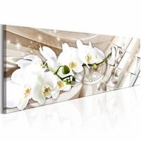 Schilderij - Abstracte Orchidee 150X50cm , wit beige , 1 luik