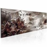 Canvas Schilderij - Bloeiende Melkweg 150X50 , lelie , bruin wit  , 1 luik