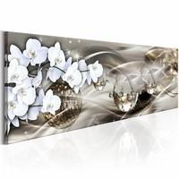 Schilderij - Gouden Cosmos 150X50cm , orchidee , wit zilver look , 1  luik