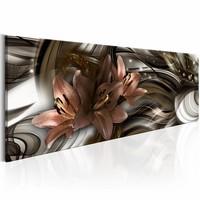Schilderij - Land van schemering 150X50cm , lelie , wit bruin , 1 luik