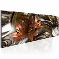 Schilderij - Abstract lelie , 1 luik, Bruin/Wit, 3 maten, Premium print