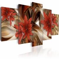 Schilderij - Abstract rode lelie , beige rood , 5 luik
