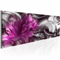 Canvas Schilderij - Paarse Diepte 150X50 , lelie , paars wit , 1 luik