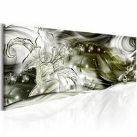 Canvas Schilderij -  Lied van rust 150X50 , lelie , wit groen , 1 luik