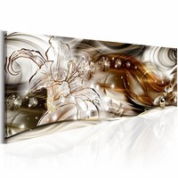 Schilderij - Luxe lelie , wit bruin