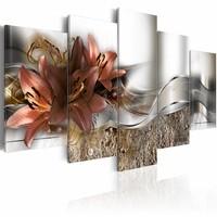 Schilderij - Lily Marsala en abstractie , bruin wit , 5 luik , 2 maten