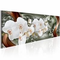 Schilderij - Abstracte Duet 150X50cm , wit bruin , 1 luik , orchidee