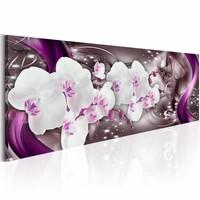 Canvas Schilderij - Dansende Orchidee 150X50 , wit paars , 1 luik