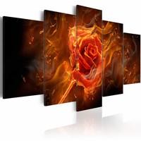 Schilderij - Vlammende roos , rood bruin , 5 luik , 2 maten