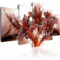 Schilderij - Hitte en passie , wit rood bruin , 5 luik
