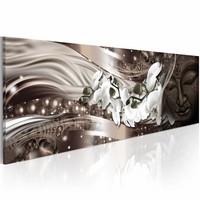 Schilderij - Fijne Meditatie 150X50cm , wit bruin , golven , 1 luik