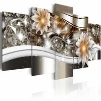 Schilderij - Abstracte kunst - Licht , wit zilver look , 5 luik , 2 maten