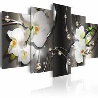 Schilderij - Grijze afgrond , orchidee , wit , grijs 5 luik , 2 maten