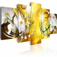 Schilderij - Gele Adoratie , bloem , wit  , 5 luik , 2 maten