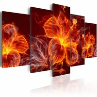 Schilderij - Bloemen in Vlammen, 5 luik, Rood/Oranje, 2 maten, Premium print