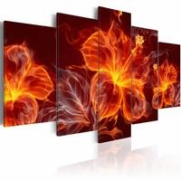 Schilderij - Bloemen in Vlammen, Rood, 5luik