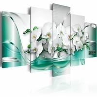 Schilderij - Celadon Lint, 5 luik, Groen/Wit, 2 maten, Premium print
