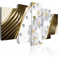 Schilderij - Gouden Orchidee, Goud/wit, 2 Maten, 5luik