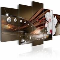 Schilderij - Bloemen en Diamanten, 5 luik, Bruin/Wit, 2 maten, Premium print