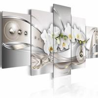 Schilderij - Dans van de parels, 5luik, Grijs/Wit, 2 maten, Premium print